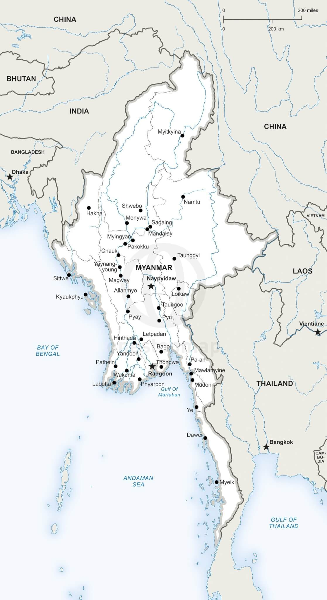 Map of Myanmar political