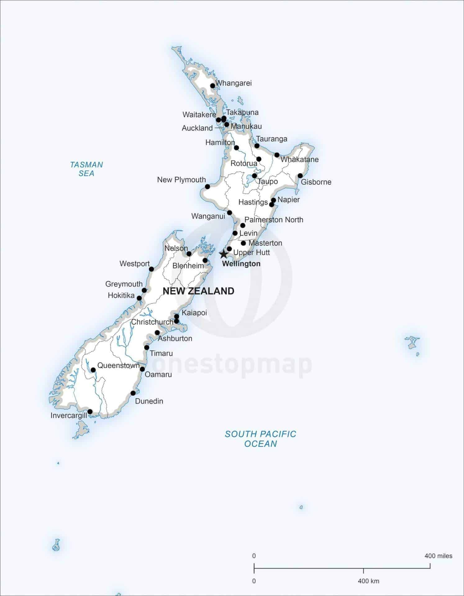 Printable Map New Zealand.Map Of New Zealand Political