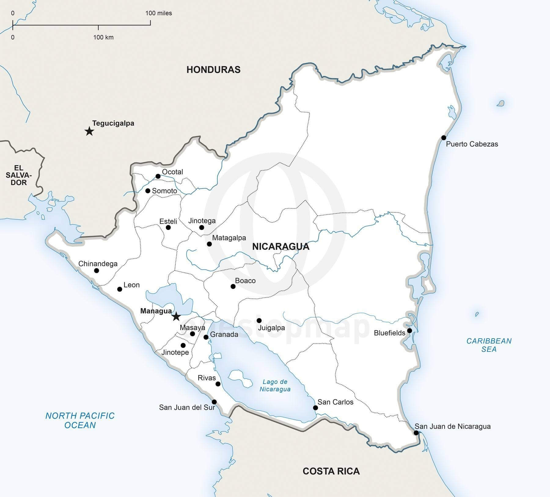 Vector Map of Nicaragua political One Stop Map