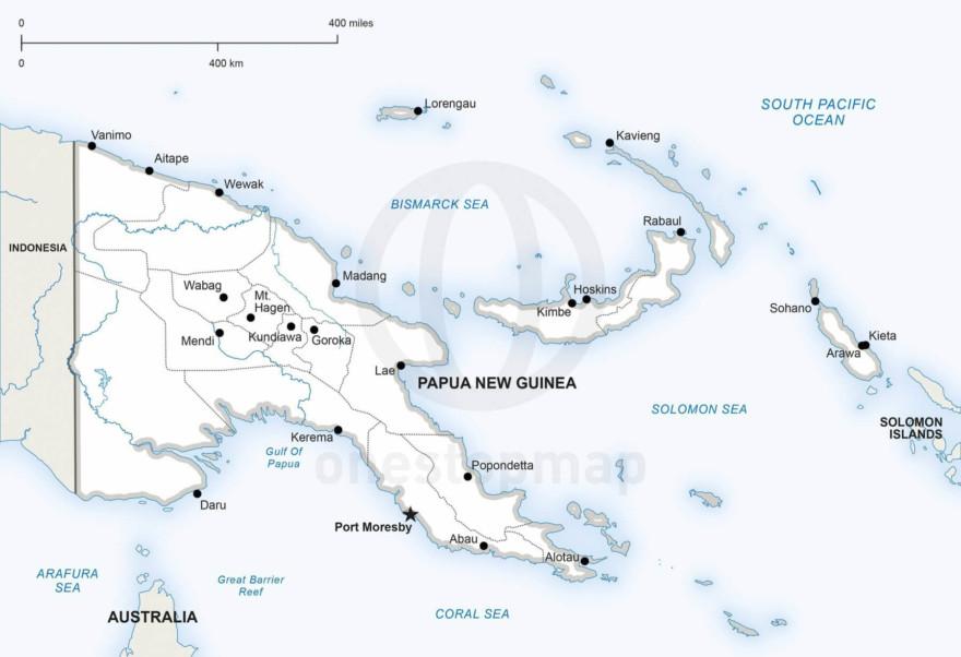 Map of Papua New Guinea political
