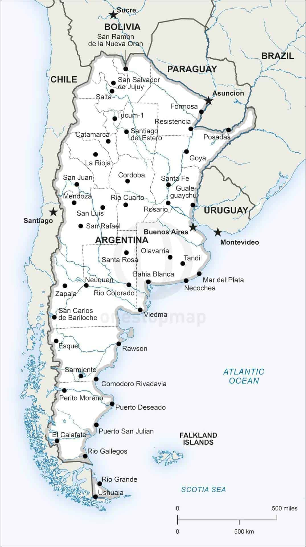 Vector Map of Argentina Political One Stop Map