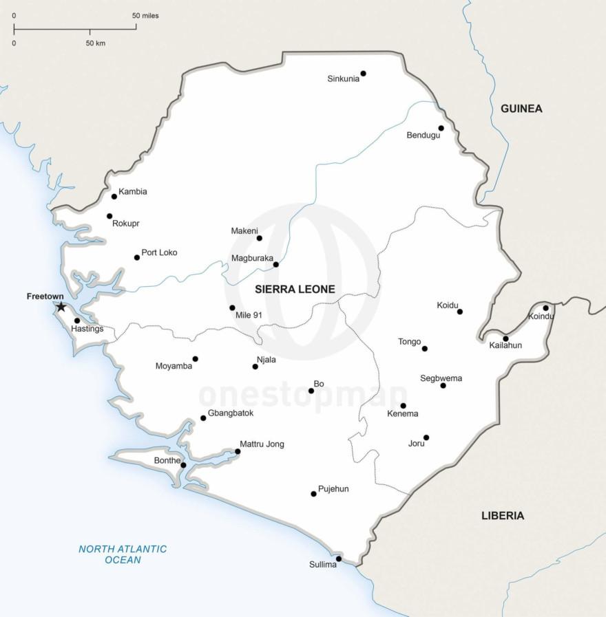 Map of Sierra Leone political