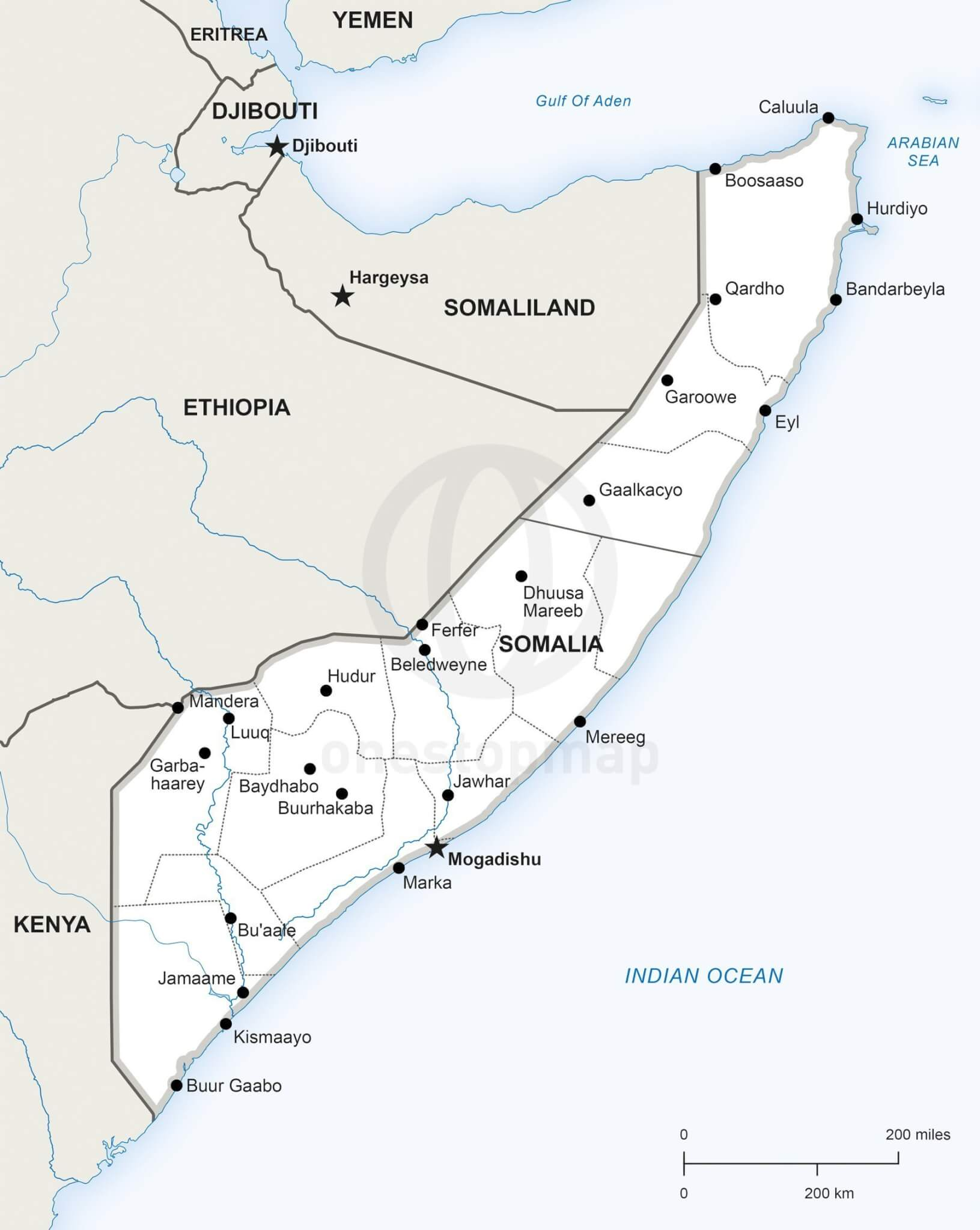 Vector Map Of Somalia Political One Stop Map