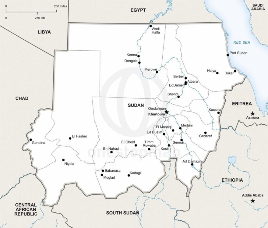 Map of Sudan political