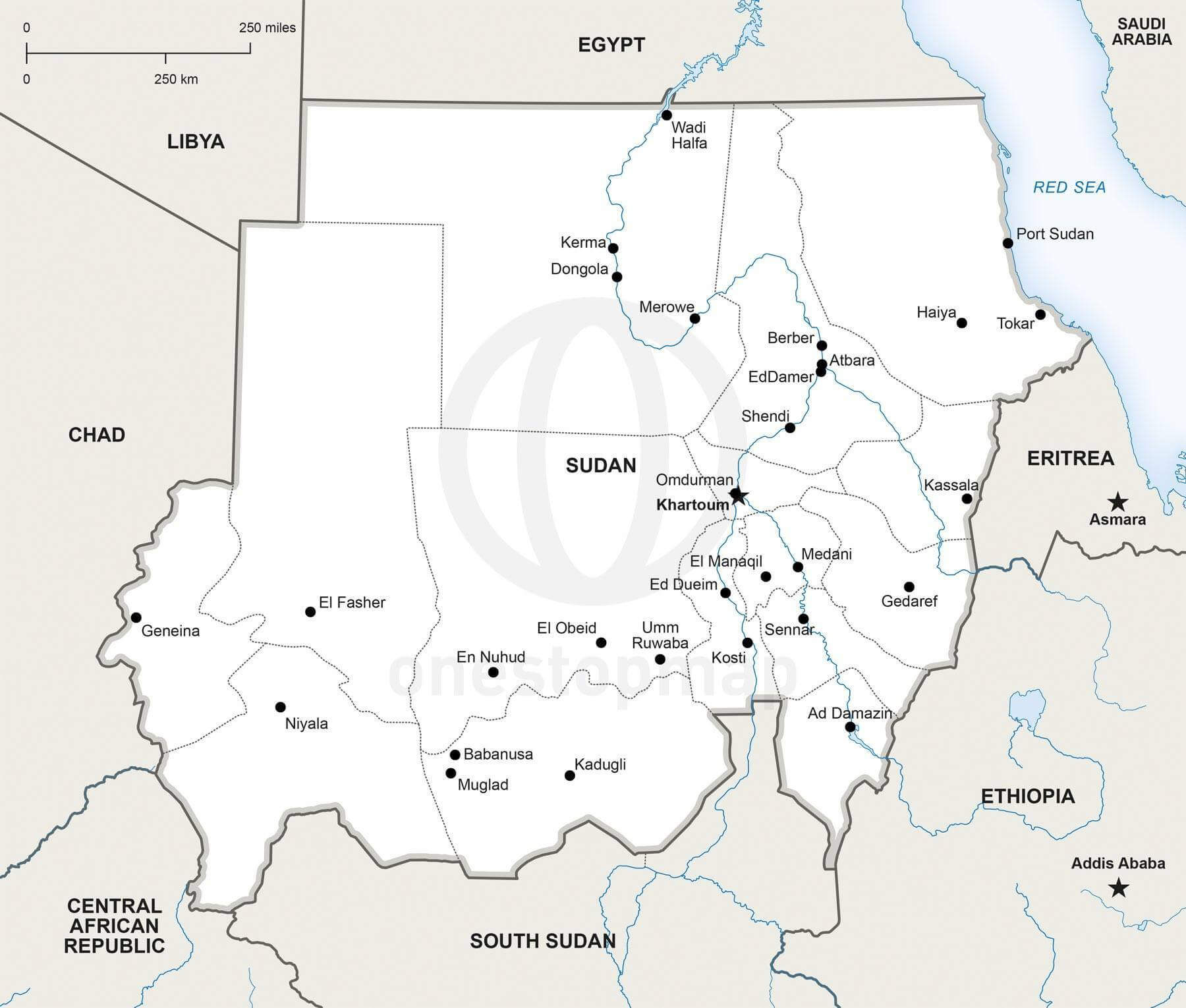 Political Map Of Sudan.Vector Map Of Sudan Political One Stop Map