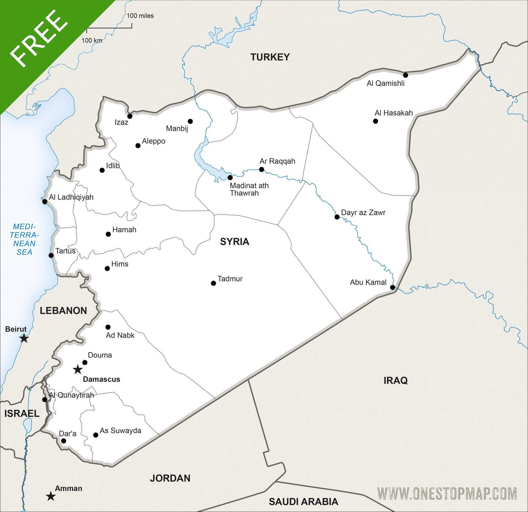 Free Vector Map of Syria Political One Stop Map