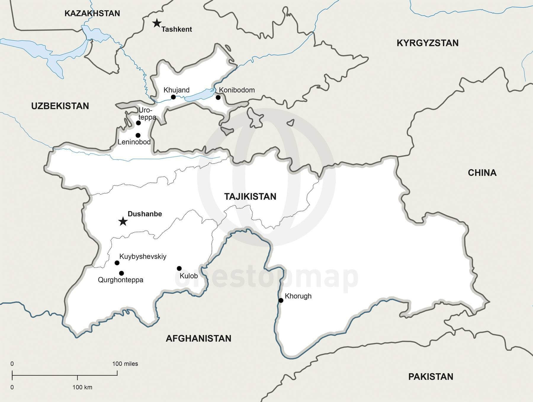 Map of Tajikistan political