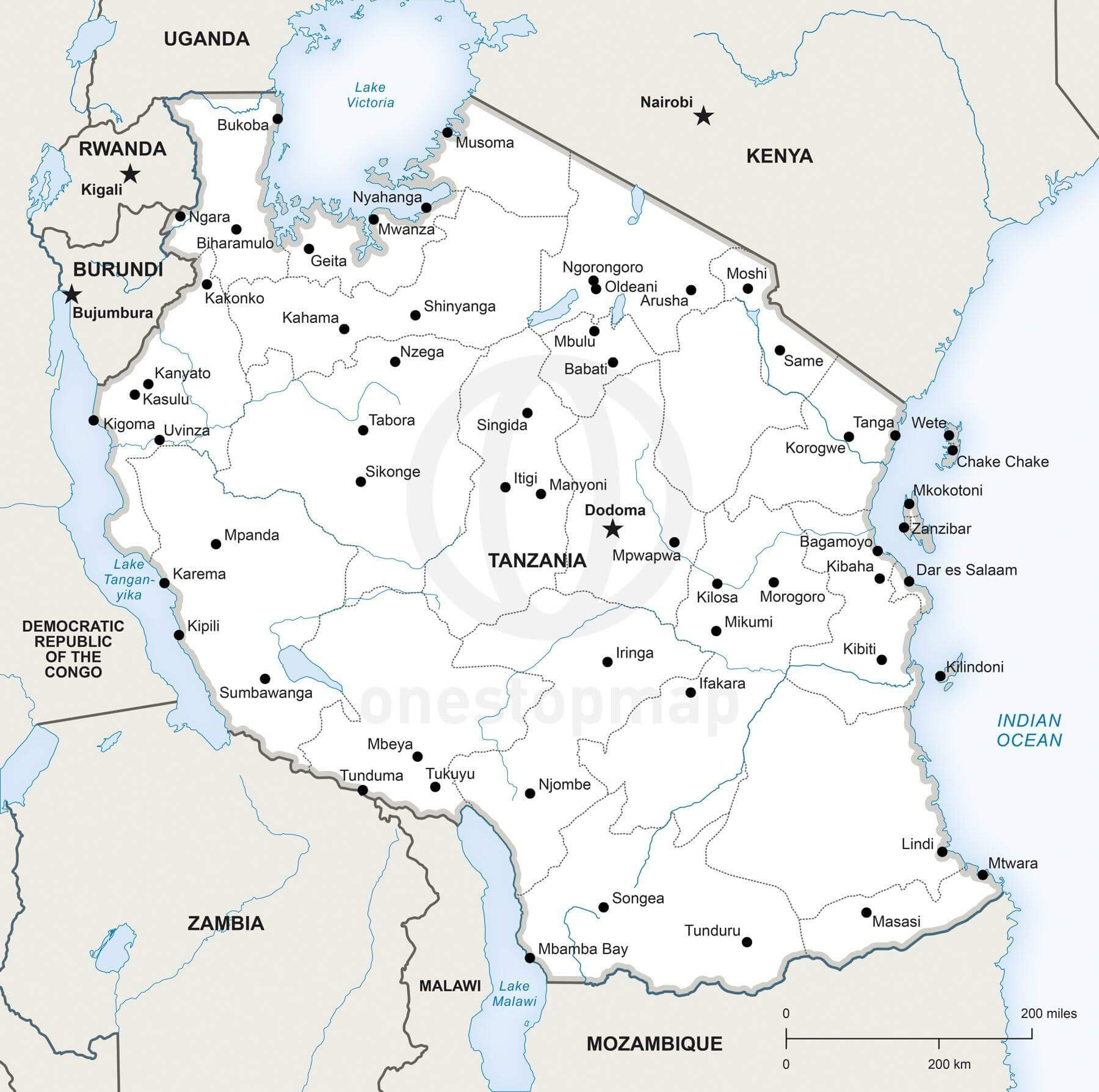 Vector map of Tanzania political