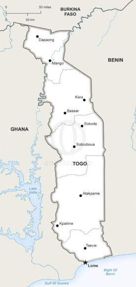 Map of Togo political