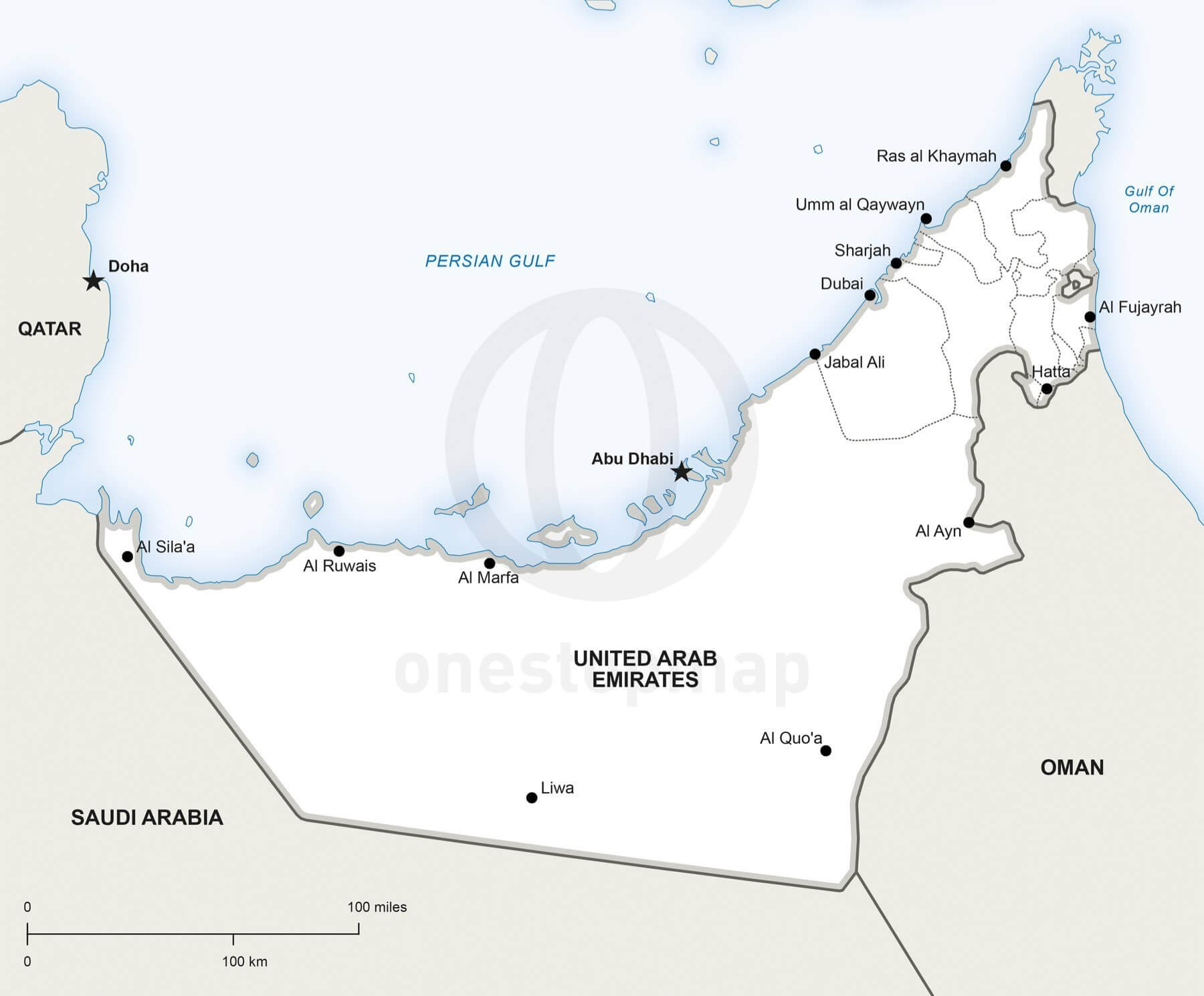 Vector Map Of United Arab Emirates Political One Stop Map - United arab emirates map