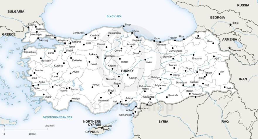 Map of Turkey political