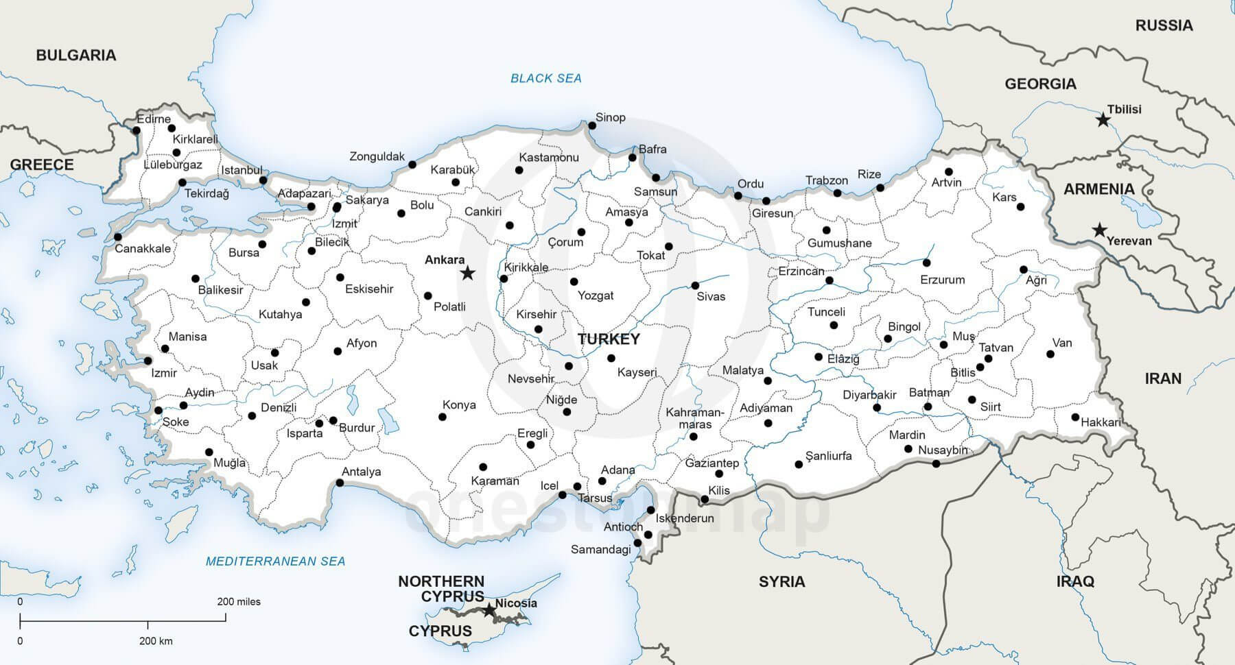 Vector Map of Turkey Political One Stop Map
