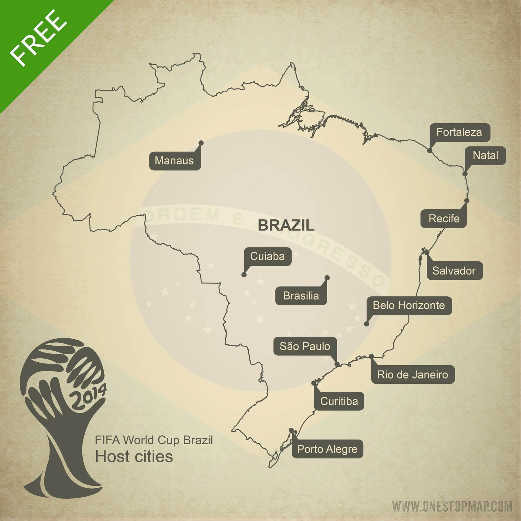 Free Vector Map Of Brazil World Cup 2014 One Stop Map