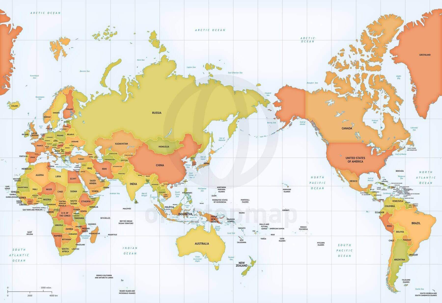 World Map With Australia.Map Of World Political Mercator Asia Australia Centered