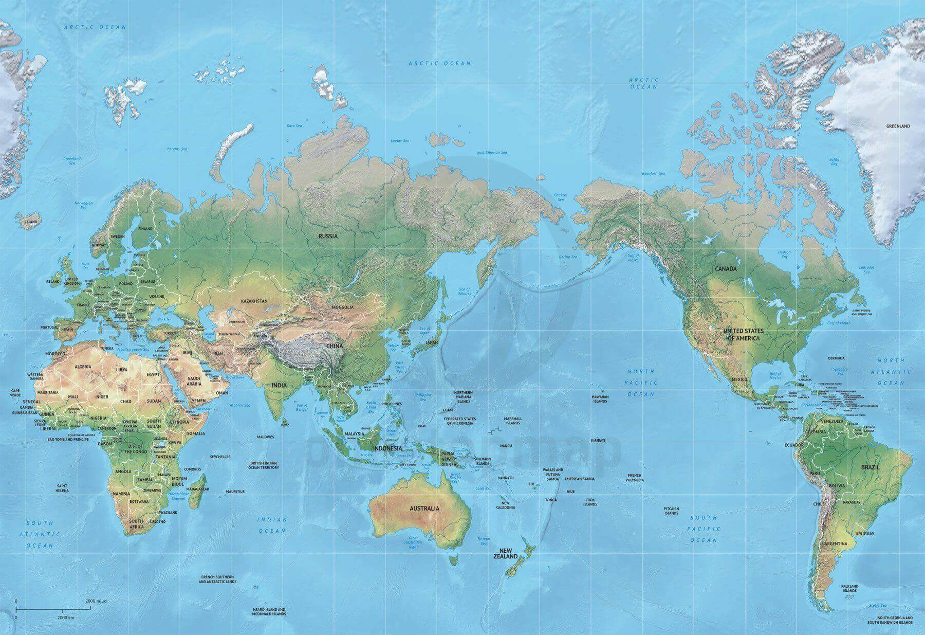 map of world political shaded relief mercator asia australia centered