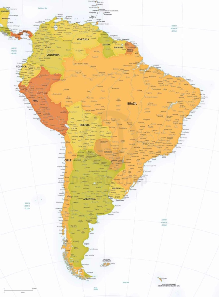 Vector map of South America political high detail