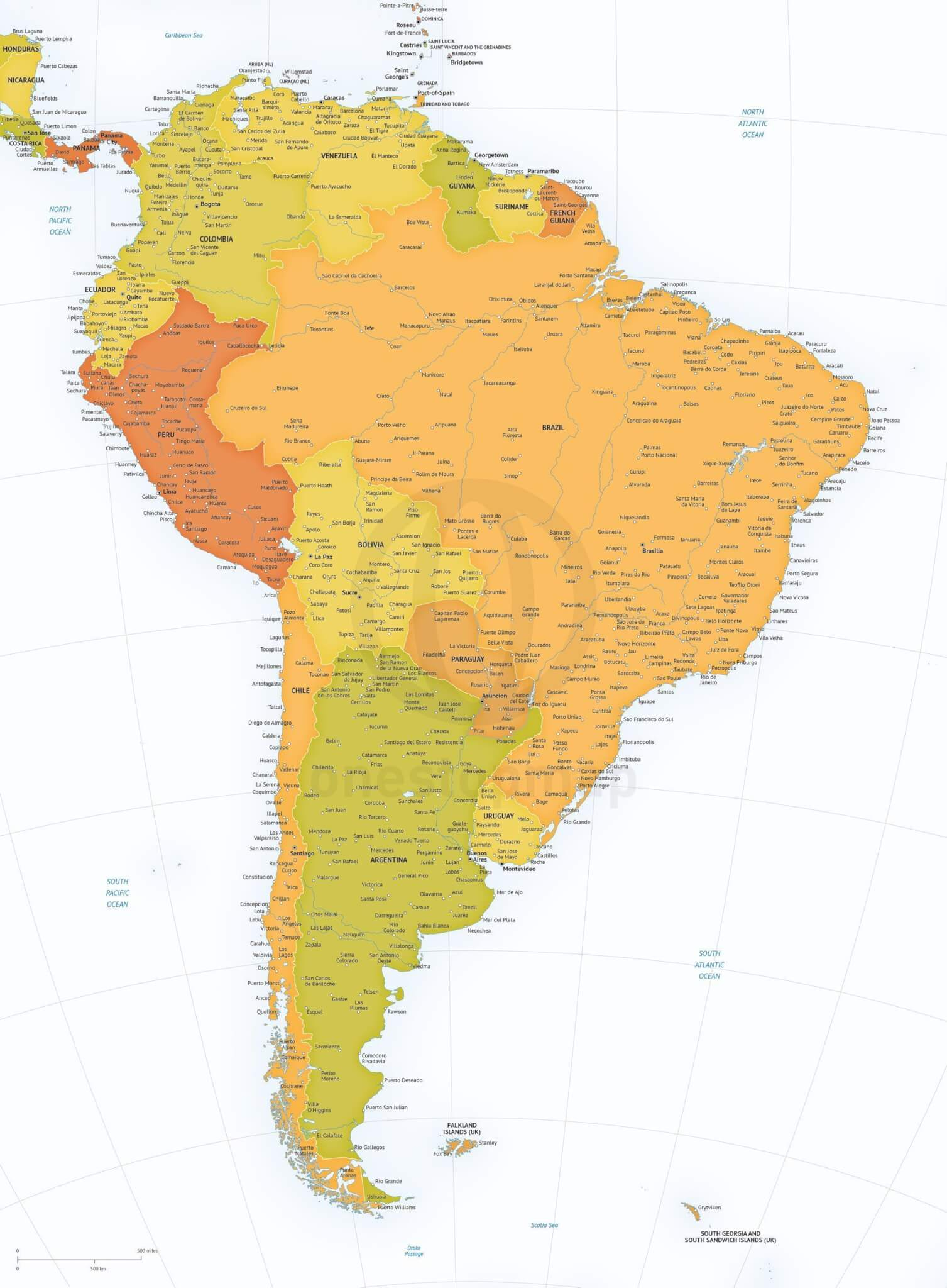 Map of South America political