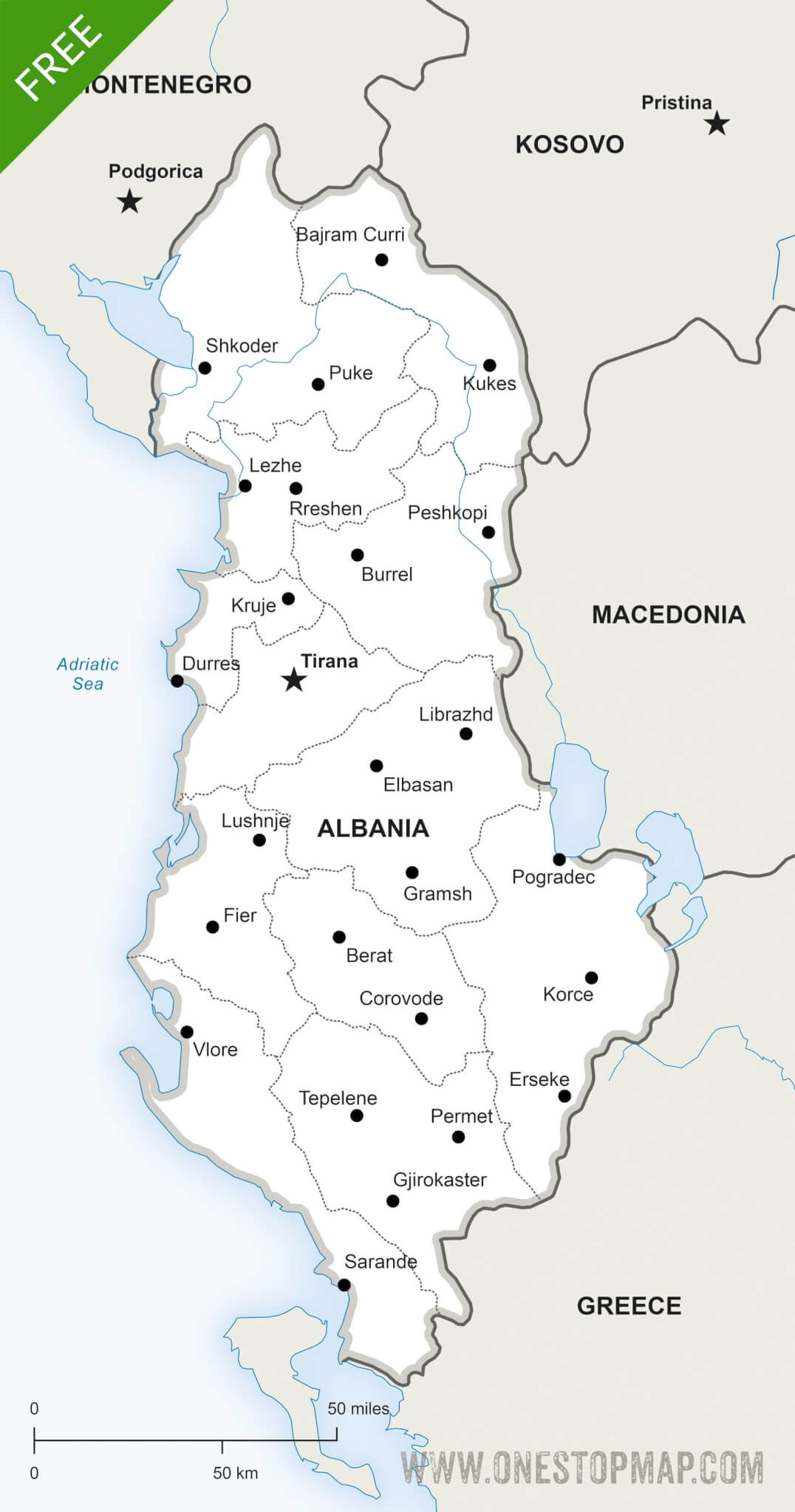 Free Vector Map of Albania Political | One Stop Map
