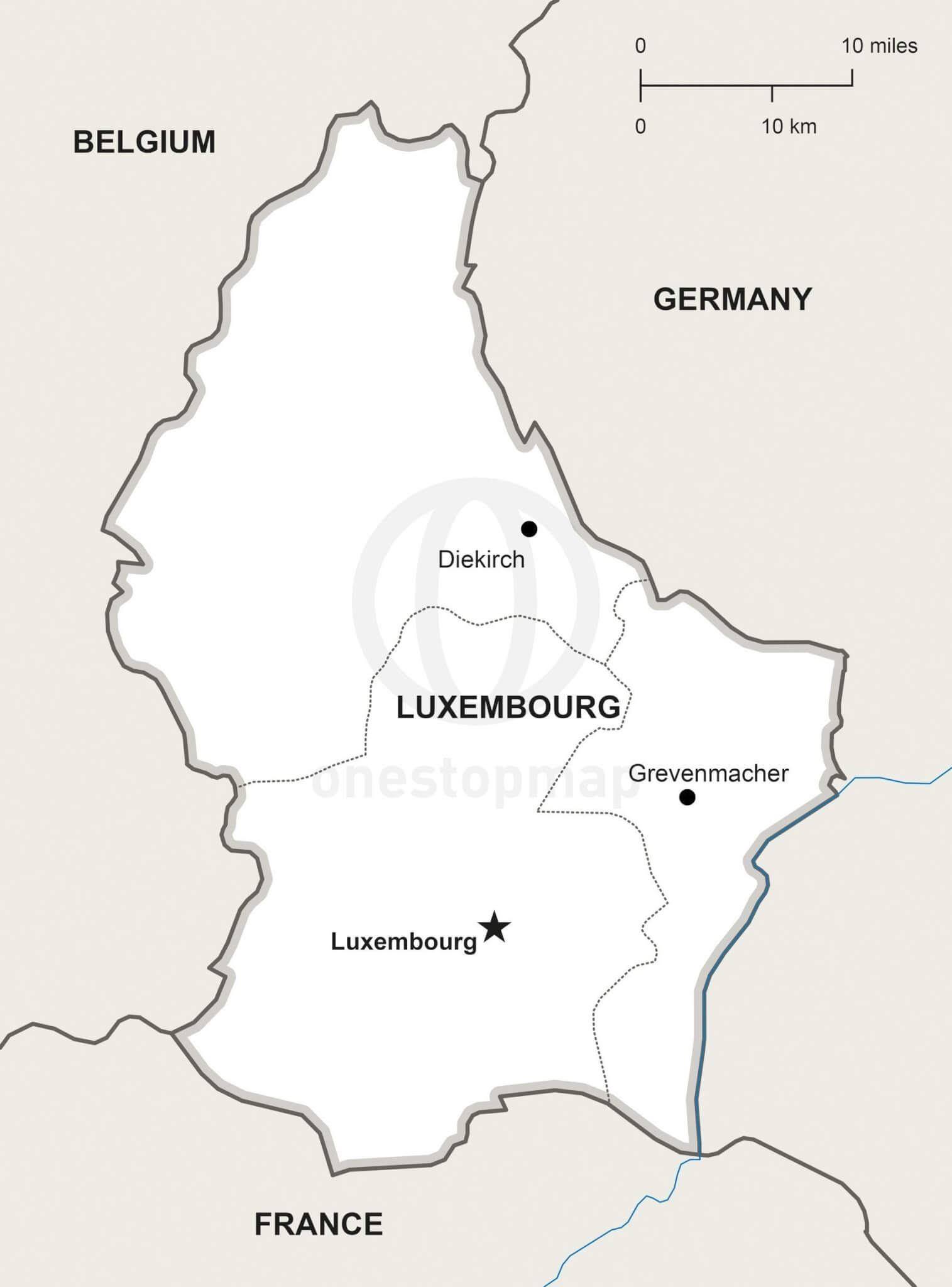 Vector Map of Luxembourg Political One Stop Map