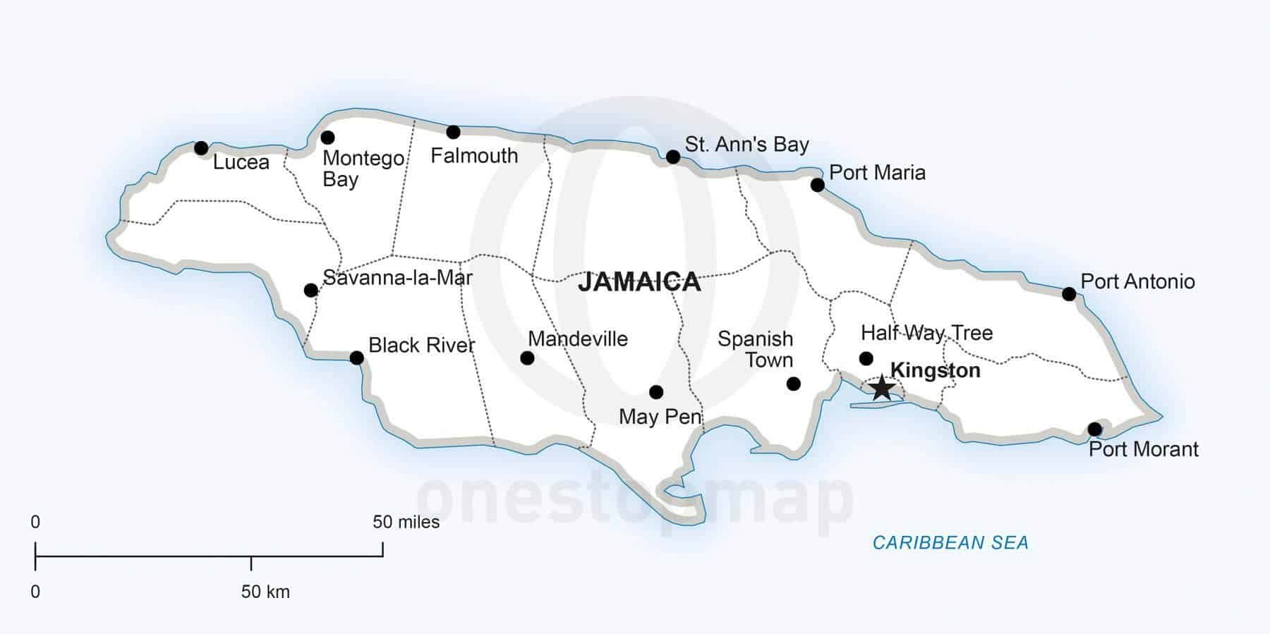 Vector Map of Jamaica Political One Stop Map
