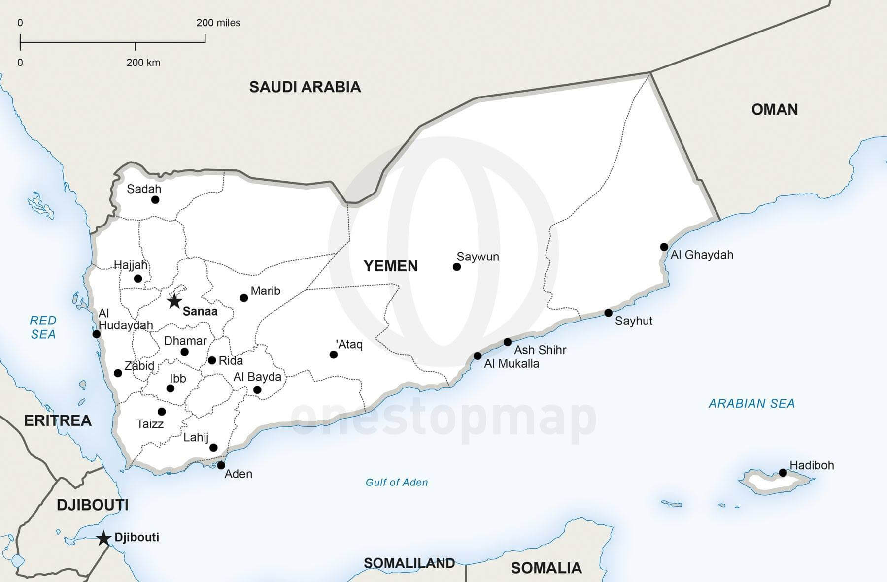 Map of Yemen political
