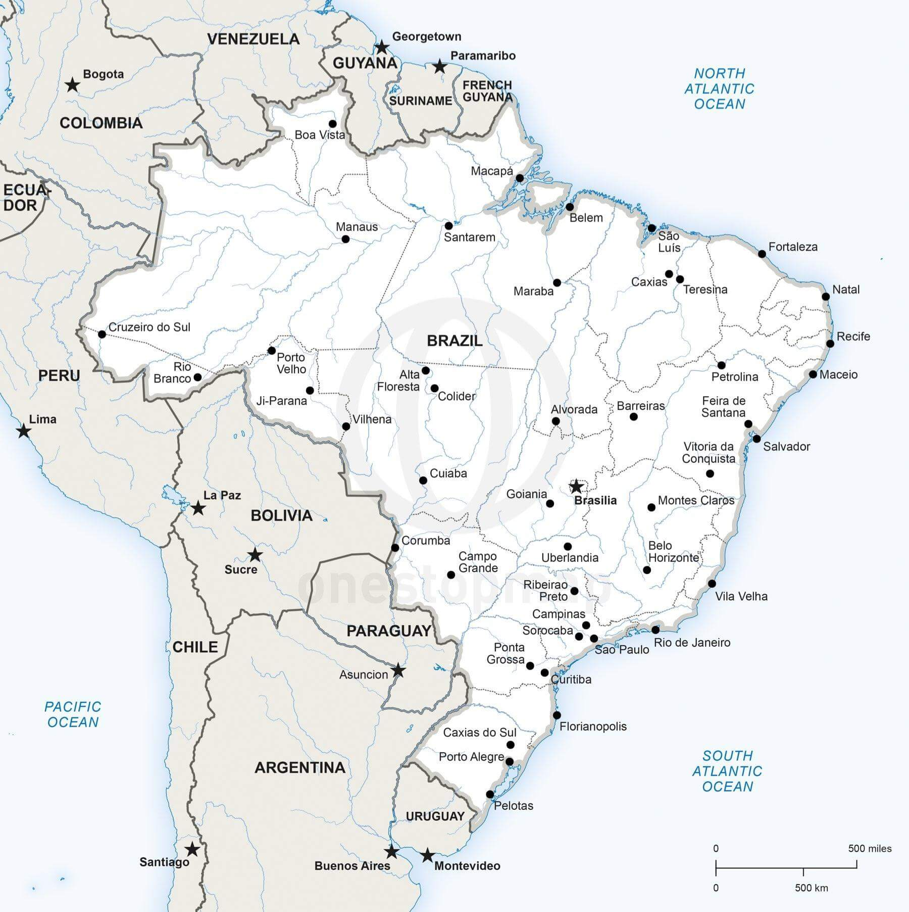 Vector Map Of Brazil Political One Stop Map - Brazil political map