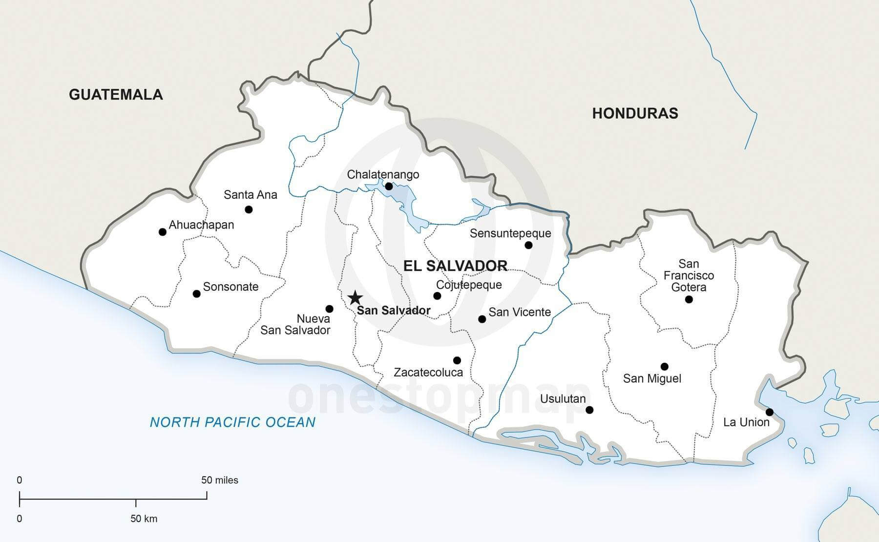Vector Map of El Salvador Political | One Stop Map