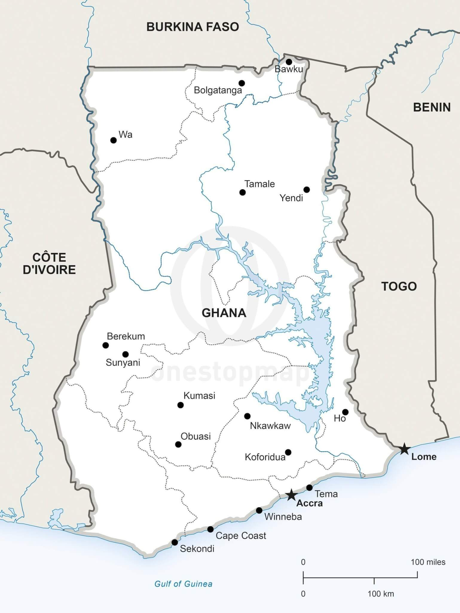 Vector Map of Ghana Political | One Stop Map