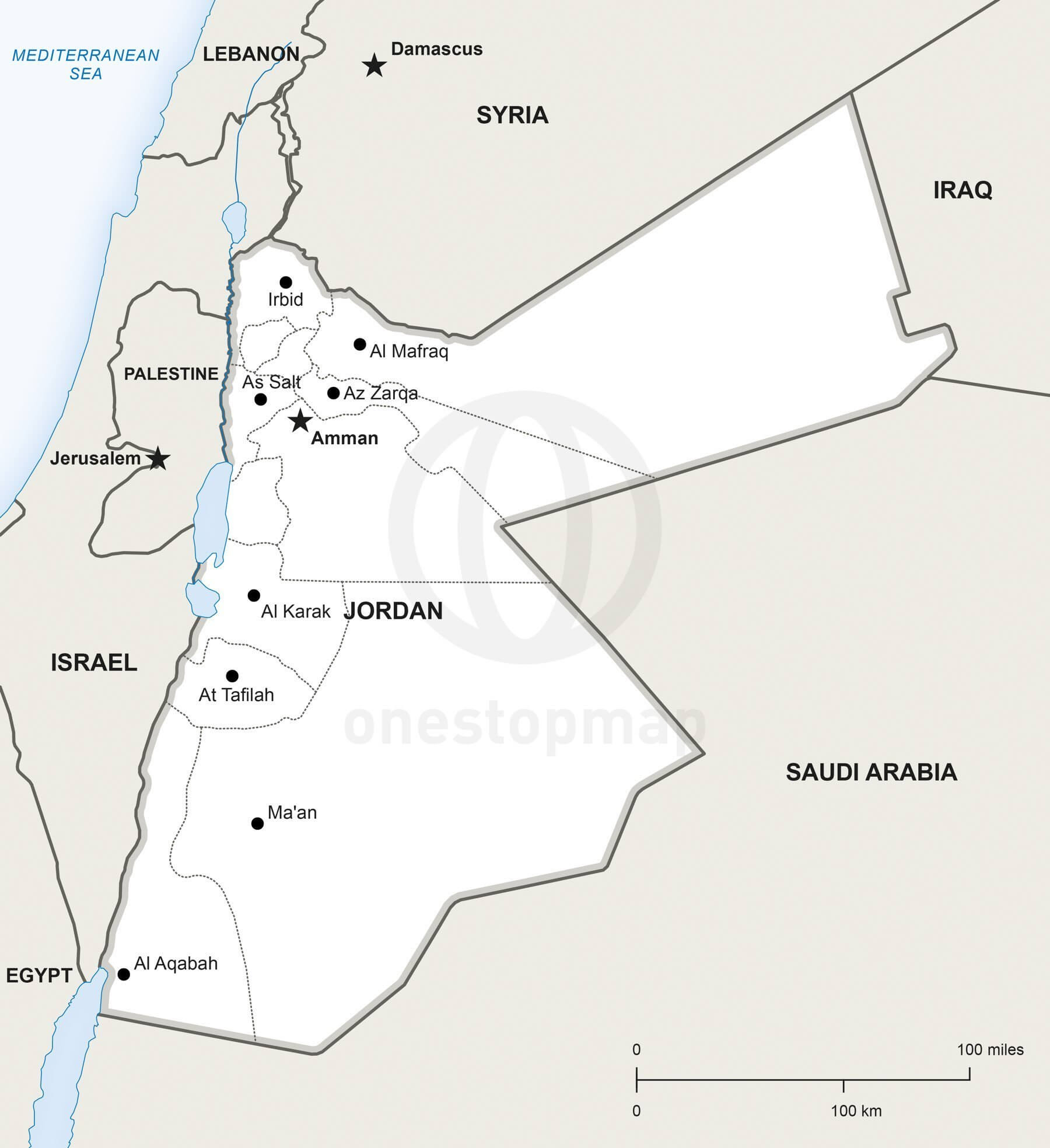 Jordan Political Map.Vector Map Of Jordan Political One Stop Map