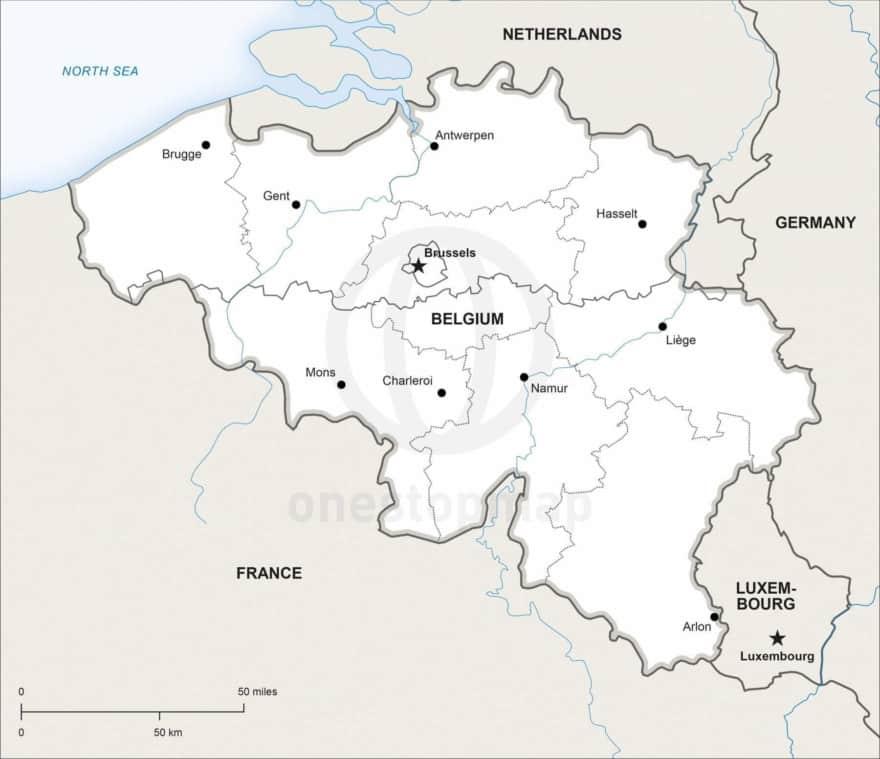 Map of Belgium political