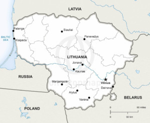 Vector Map of Lithuania Political   One Stop Map Printable State Capitals Map