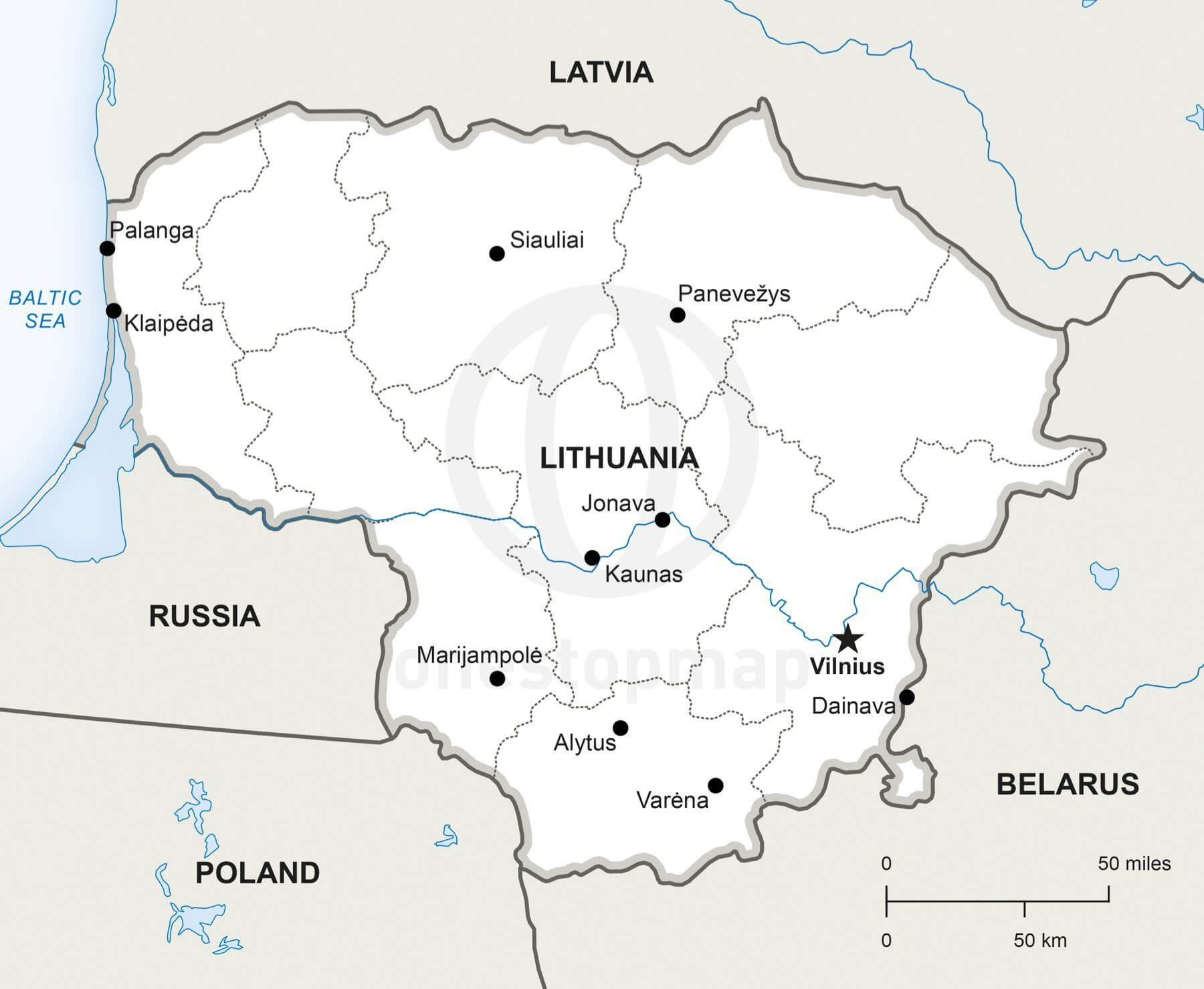 Vector Map of Lithuania Political | One Stop Map