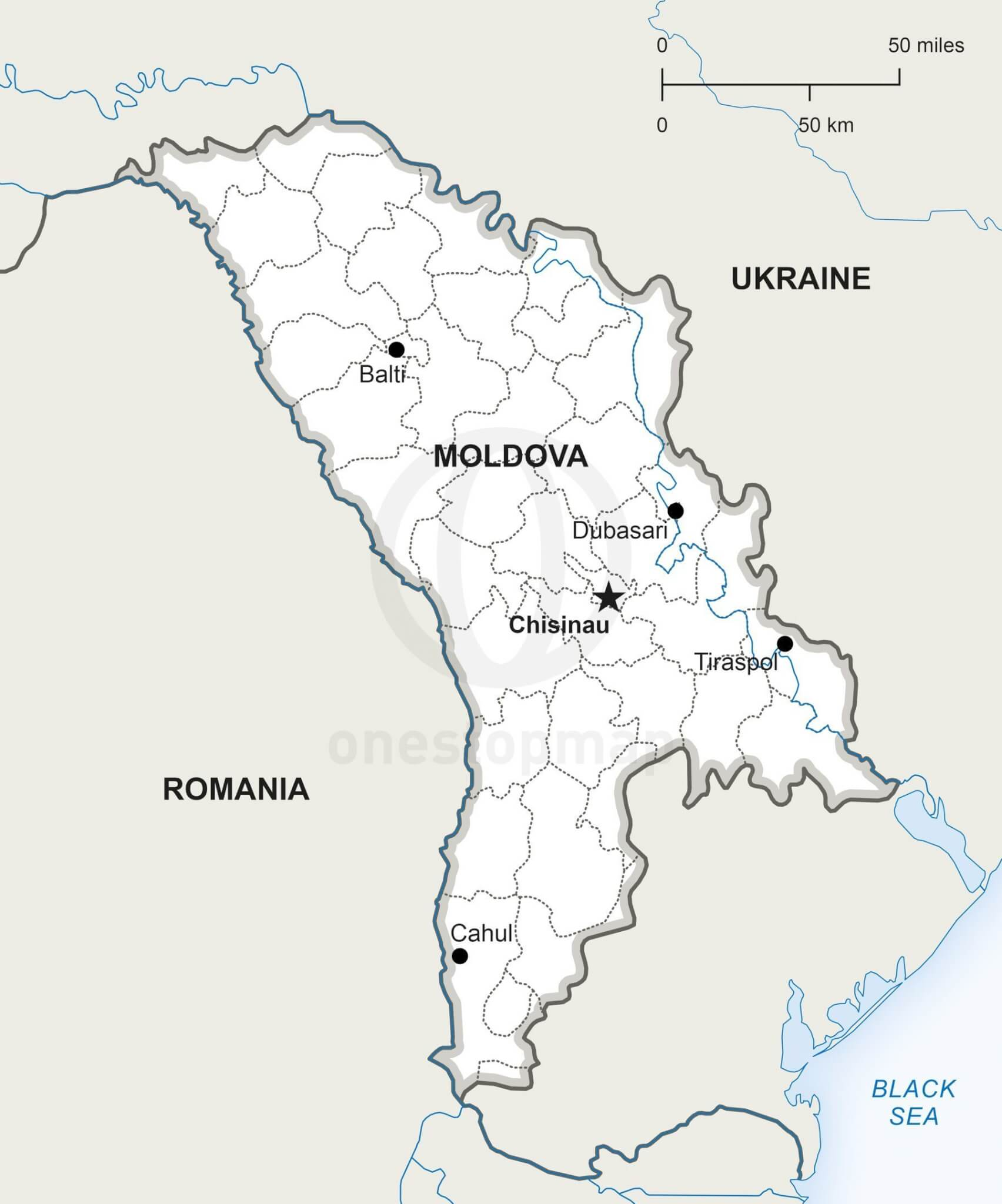 Vector Map of Republic of Moldova Political One Stop Map