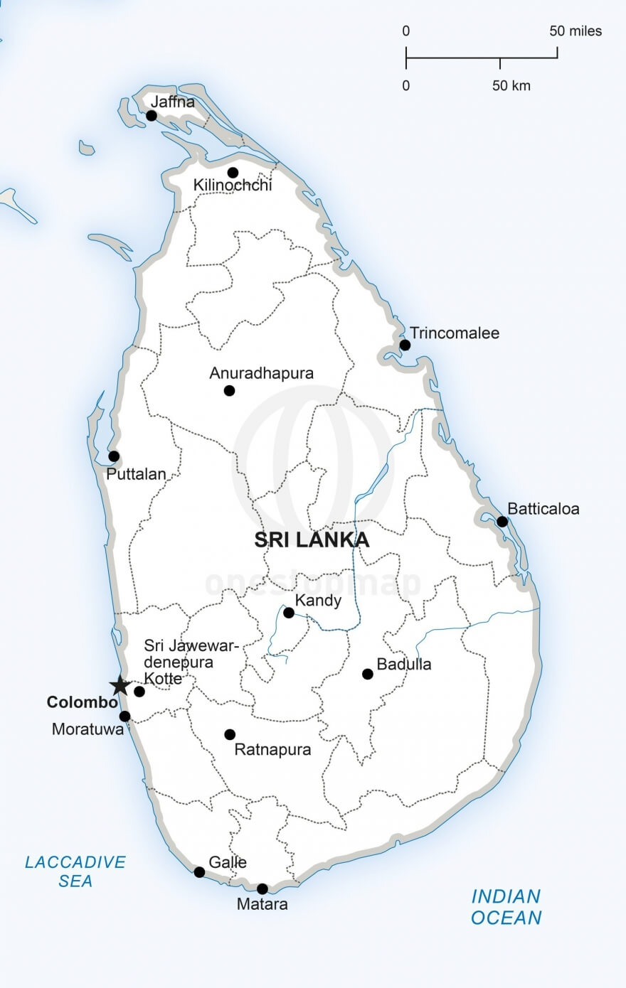 Map of Sri Lanka political