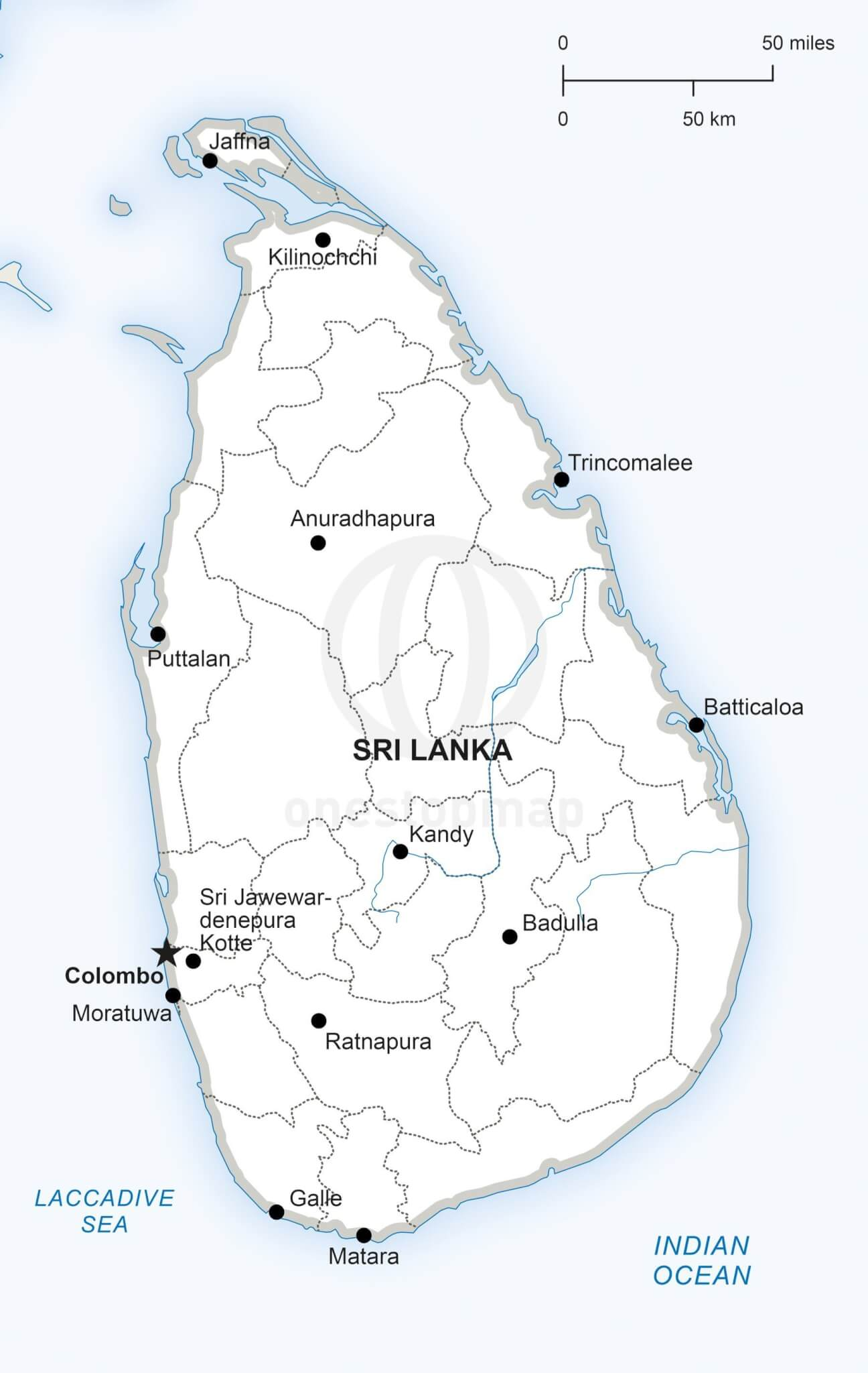 Sri Lanka Political Map.Vector Map Of Sri Lanka Political One Stop Map