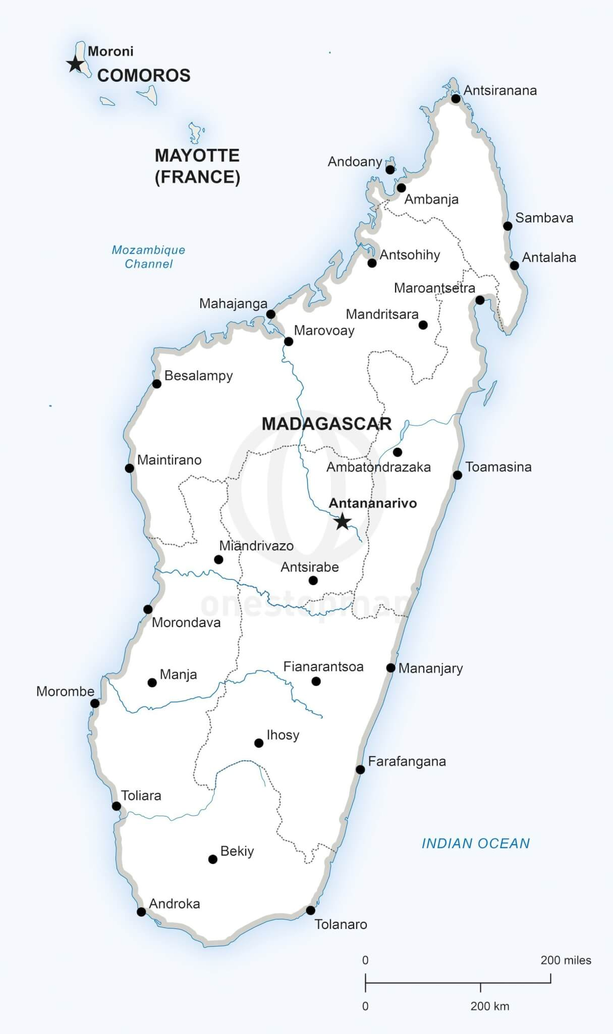 Map Of Madagascar Vector Map of Madagascar Political | One Stop Map Map Of Madagascar