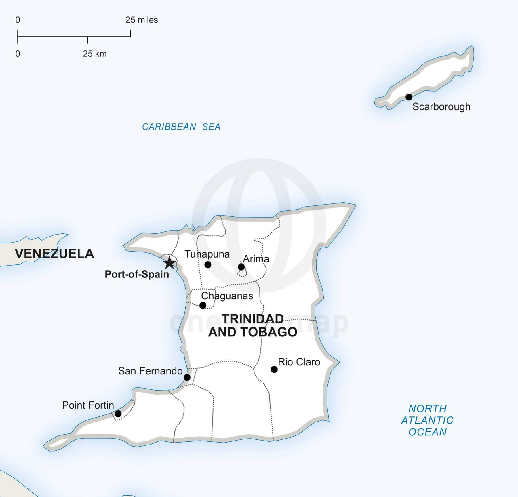 Vector map of Trinidad and Tobago political