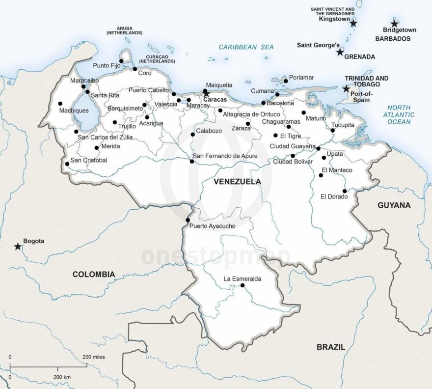 Map of Venezuela political