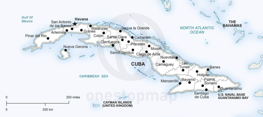 Map of Cuba political