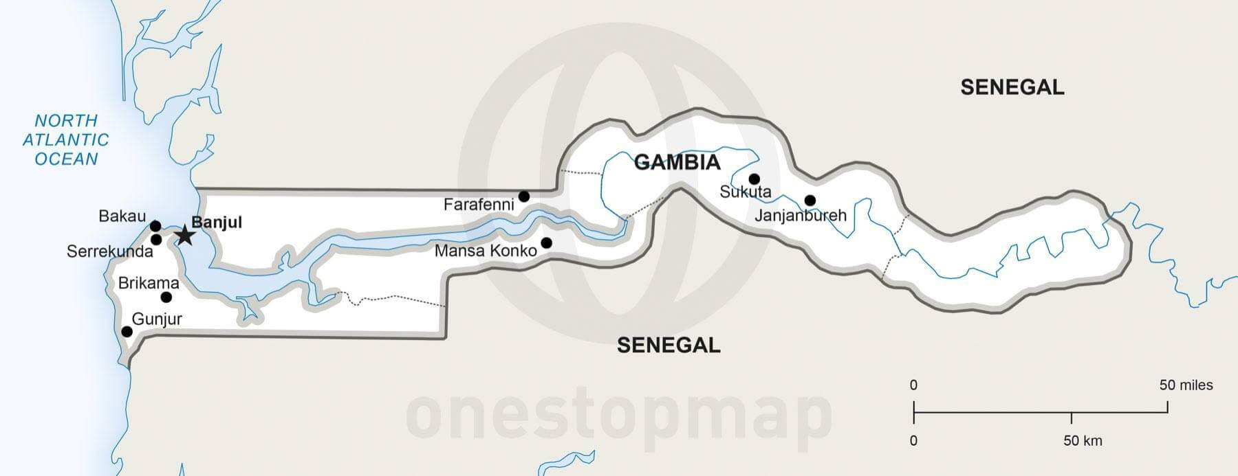 Map of Gambia political