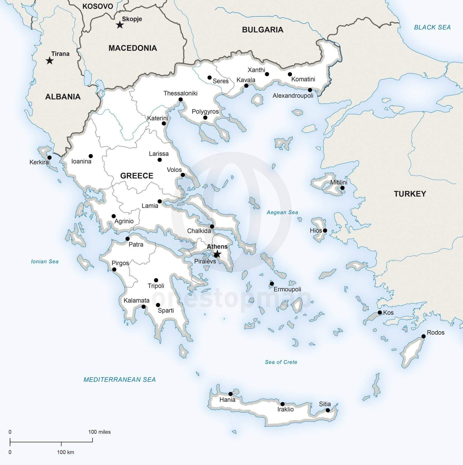 Vector Map of Greece Political One Stop Map
