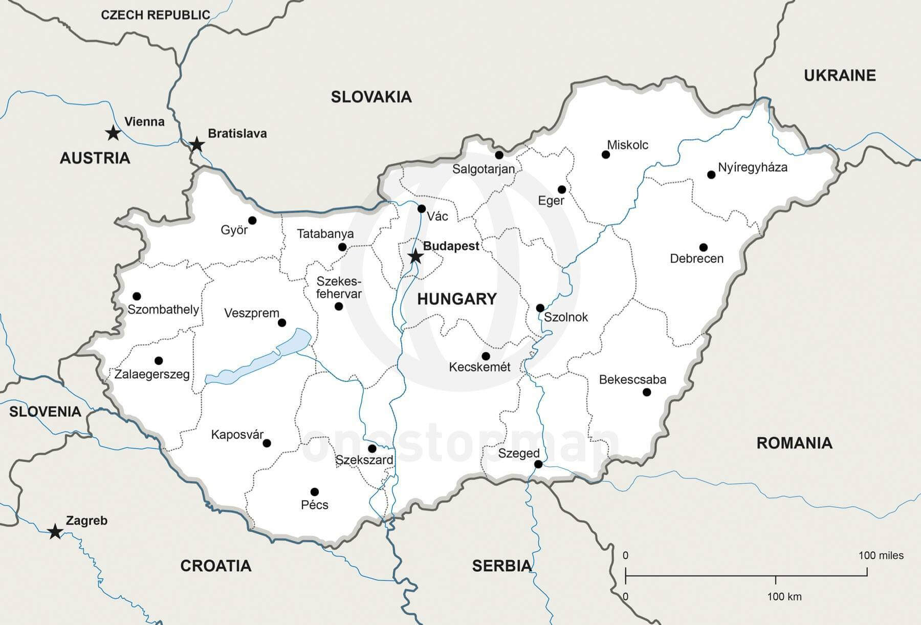 Vector Map of Hungary Political One Stop Map