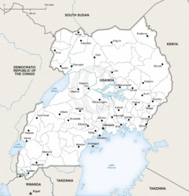 Free Vector Map of Uganda Outline One Stop Map