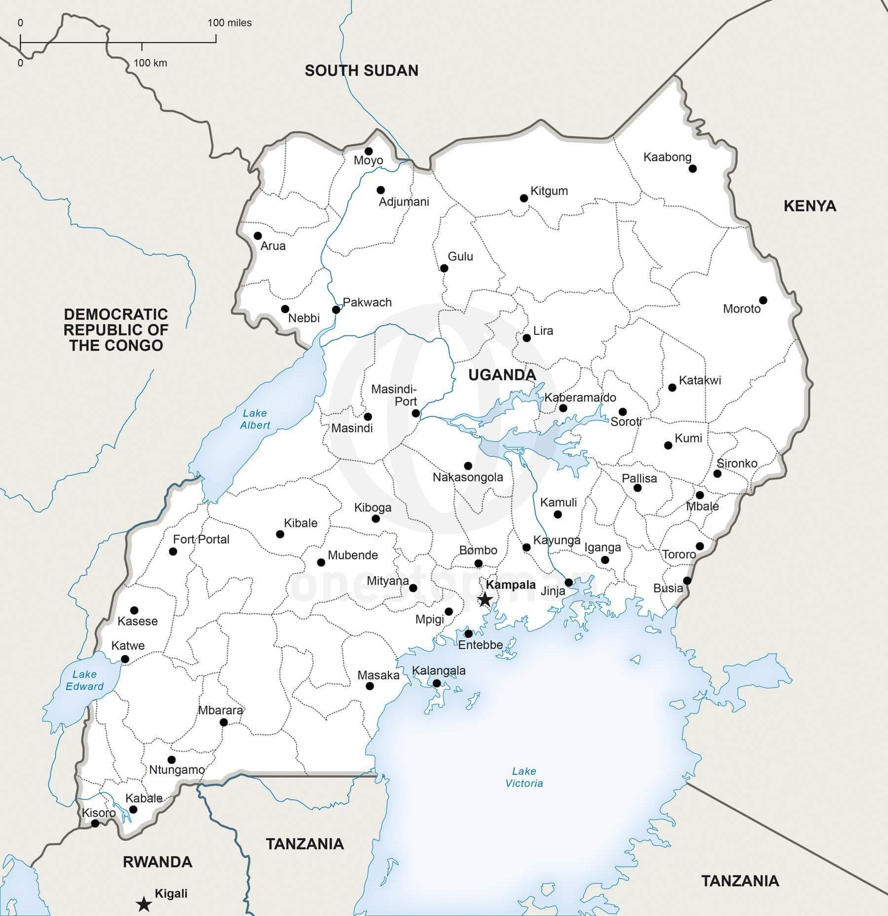 Vector Map of Uganda Political One Stop Map