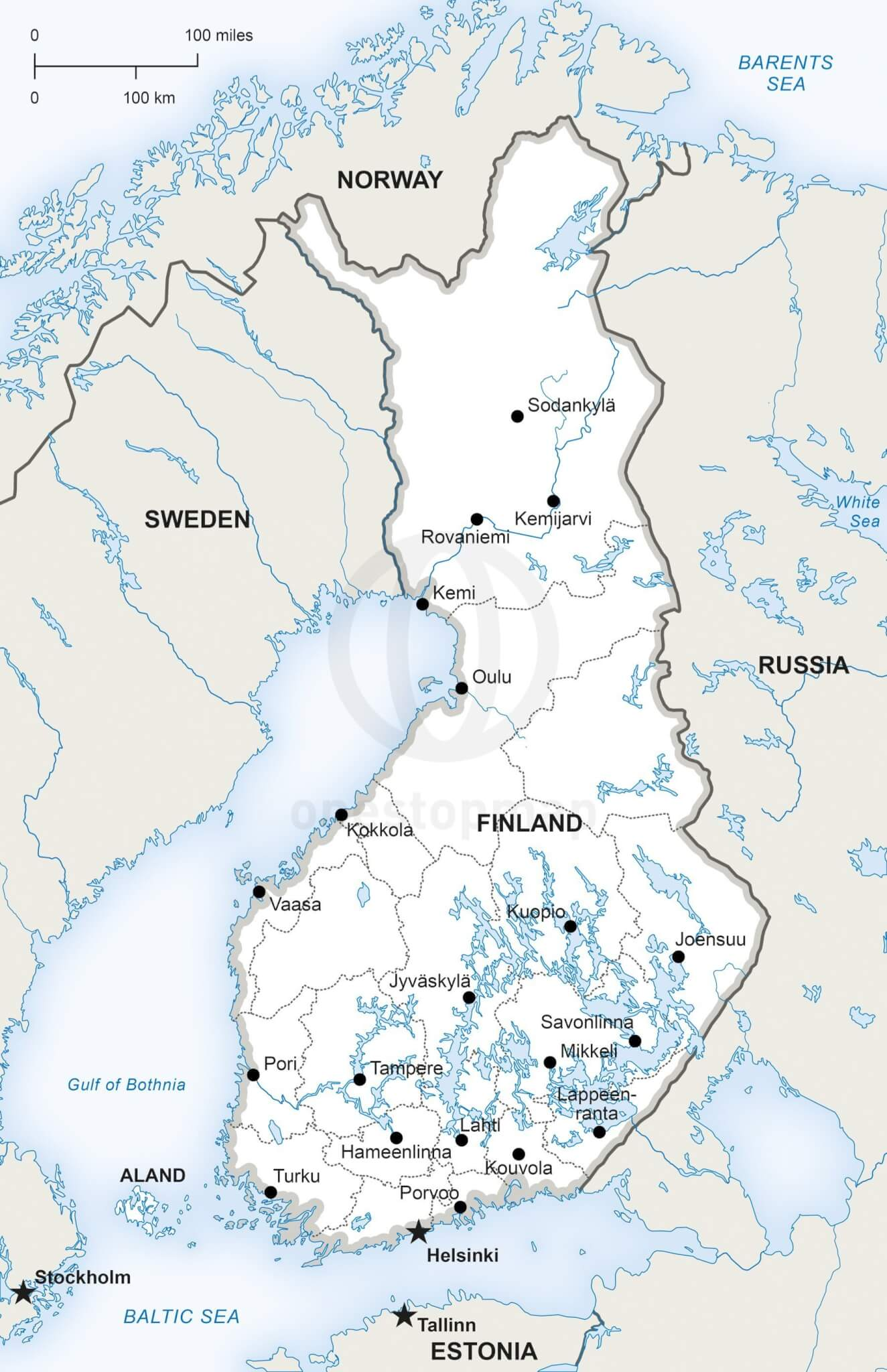 Vector Map of Finland Political One Stop Map