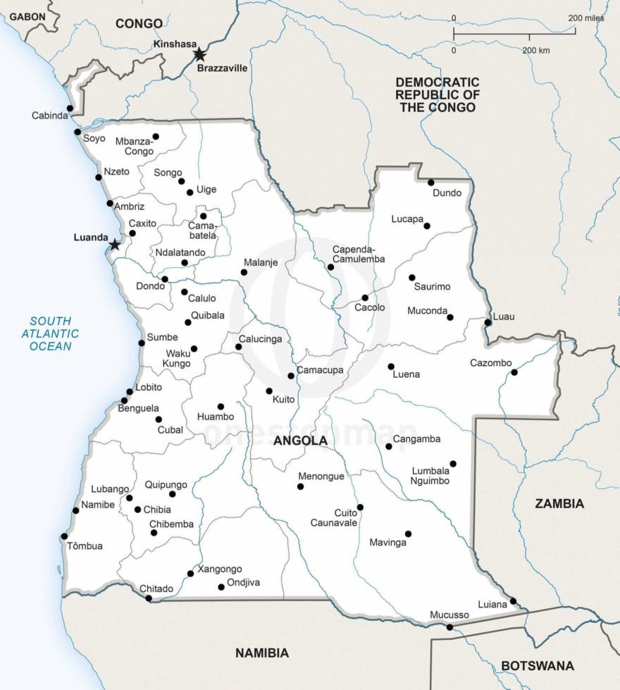 Map of Angola political