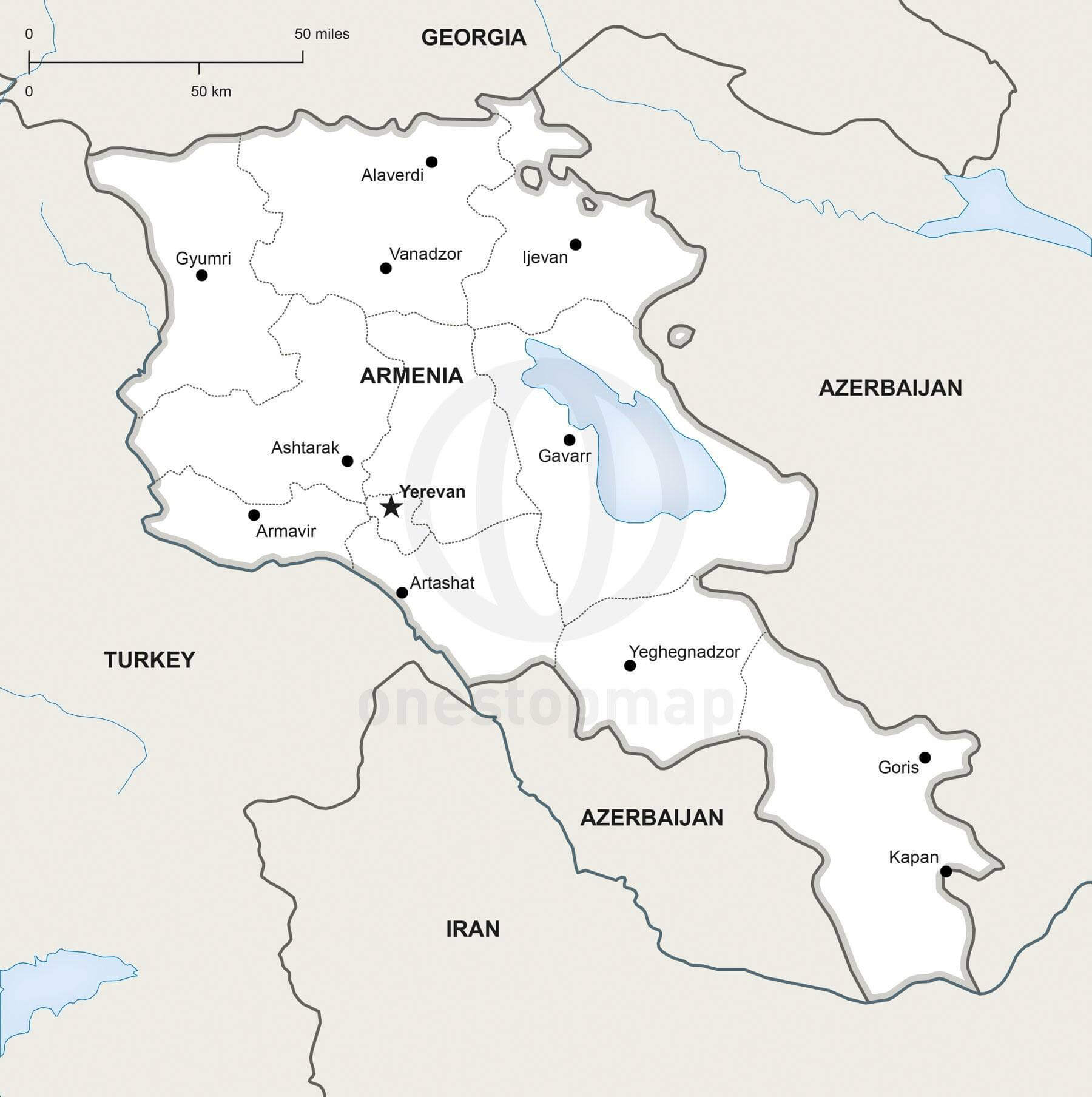 Vector Map of Armenia Political One Stop Map
