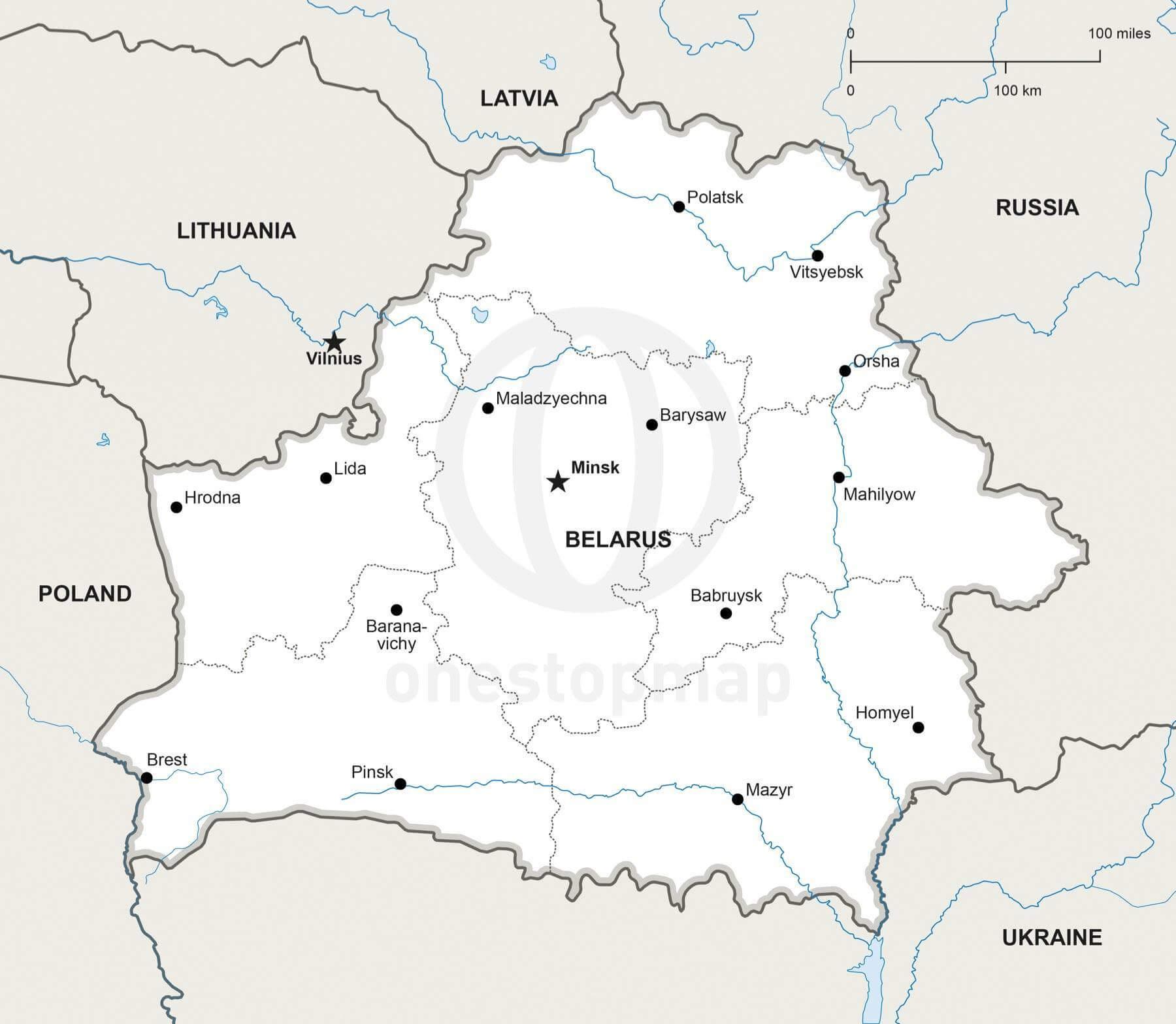 Map of Belarus political