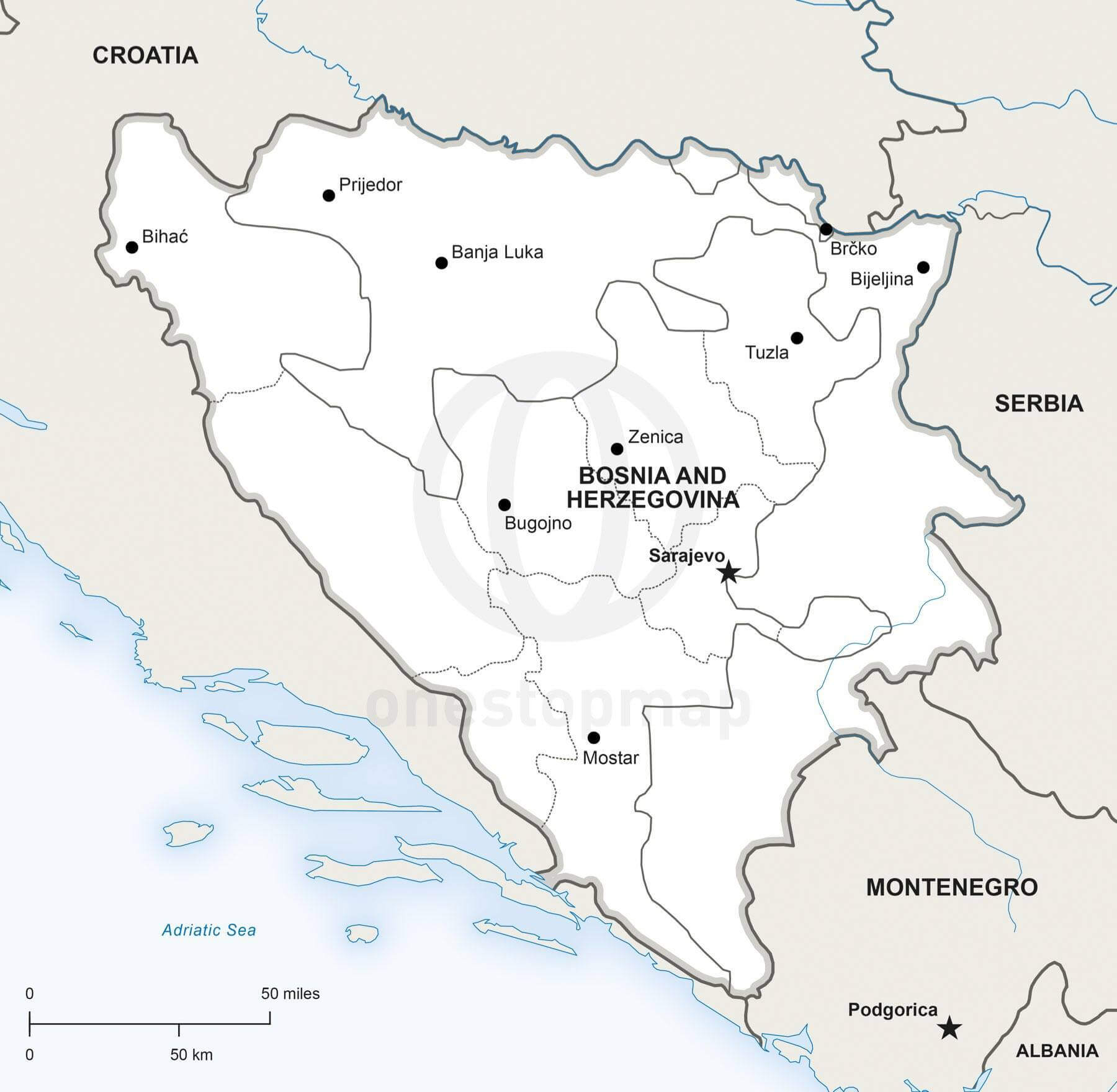 Vector Map Bosnia And Herzegovina Political One Stop Map - Bosnia and herzegovina map