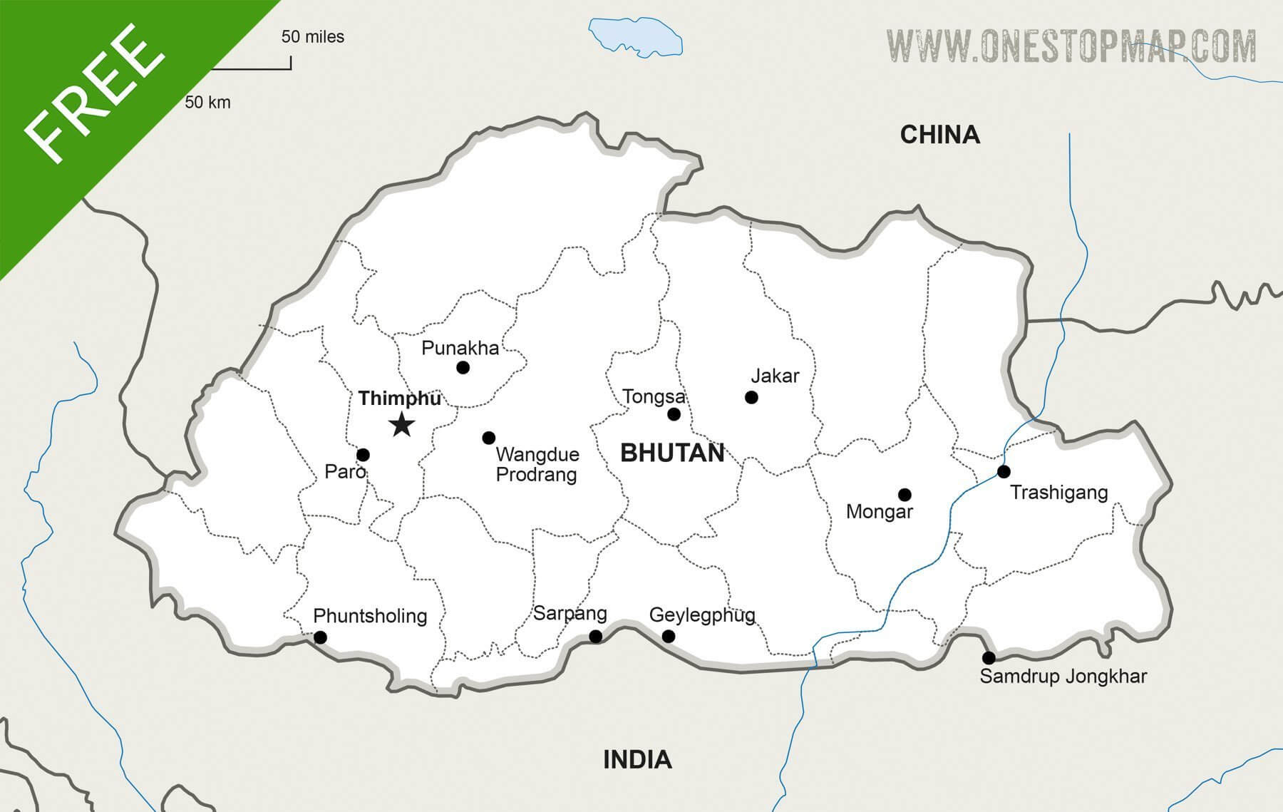 Map of Bhutan political